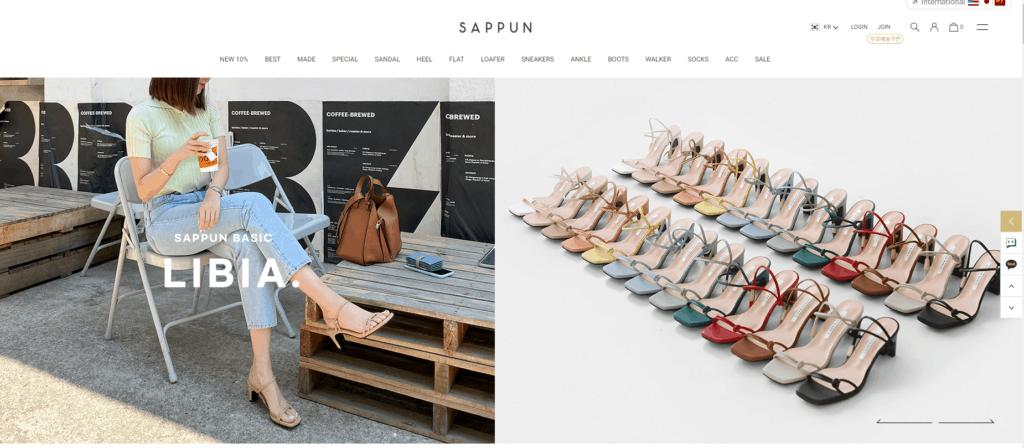Korean shoe store, Sappun.co.kr
